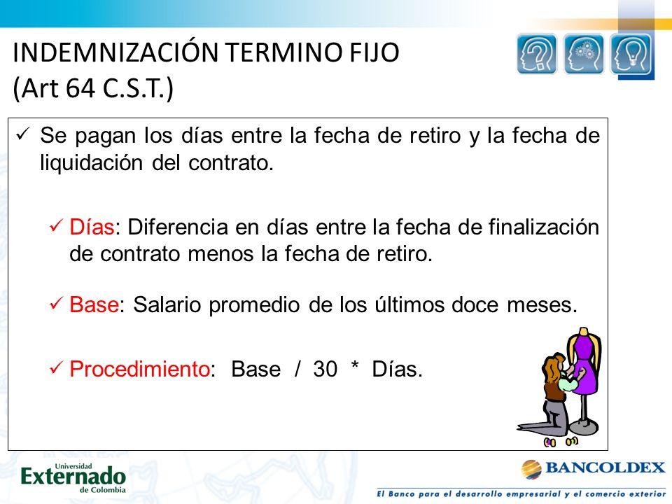 INDEMNIZACIÓN TERMINO FIJO (Art 64 C.S.T.)