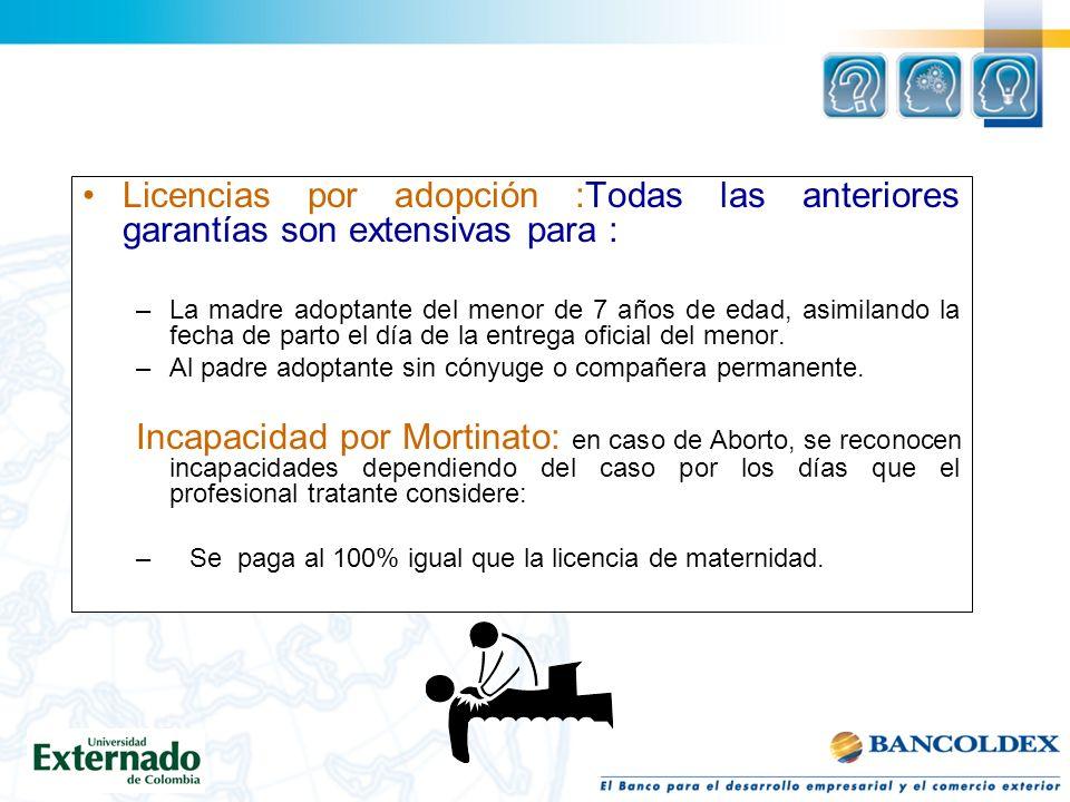 Licencias por adopción :Todas las anteriores garantías son extensivas para :