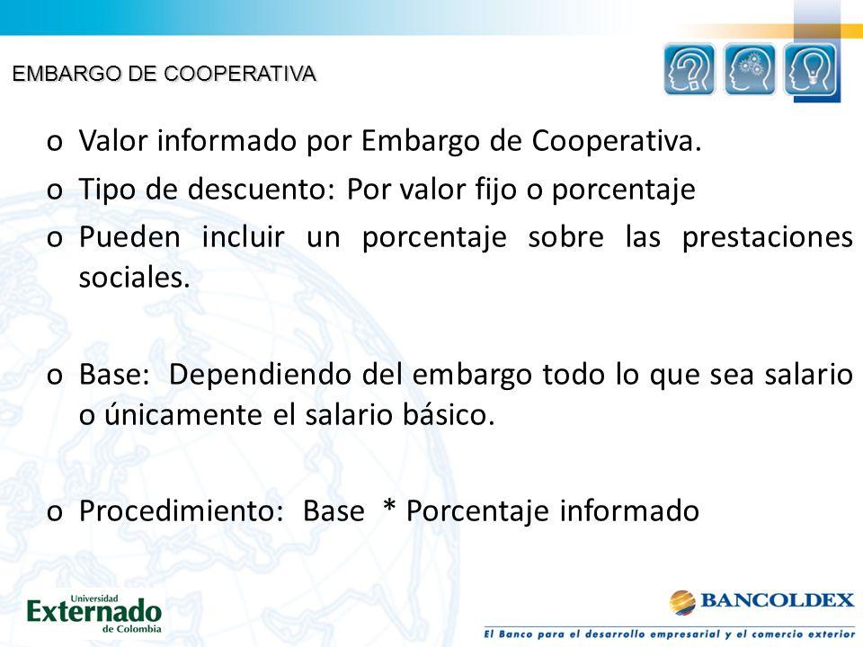 Valor informado por Embargo de Cooperativa.