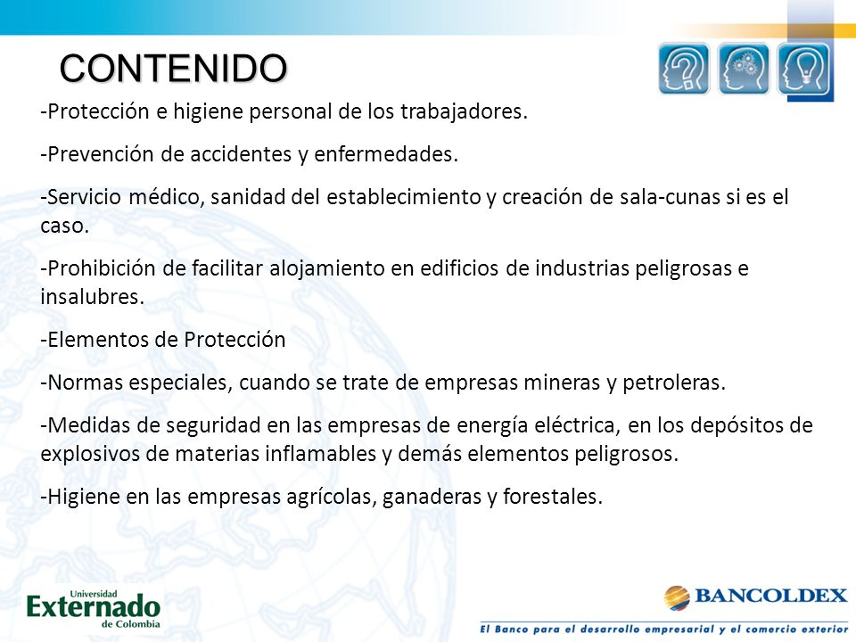 CONTENIDO Protección e higiene personal de los trabajadores.