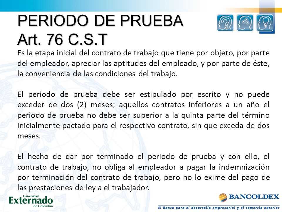 PERIODO DE PRUEBA Art. 76 C.S.T