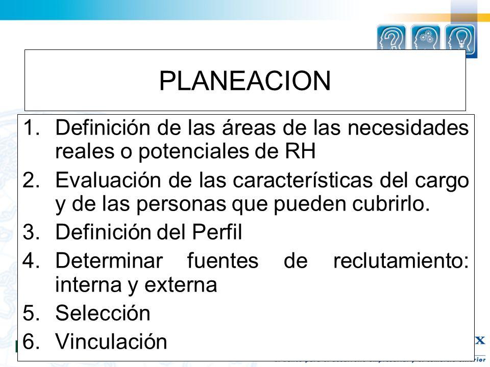 PLANEACION Definición de las áreas de las necesidades reales o potenciales de RH.