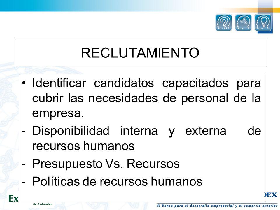 RECLUTAMIENTO Identificar candidatos capacitados para cubrir las necesidades de personal de la empresa.