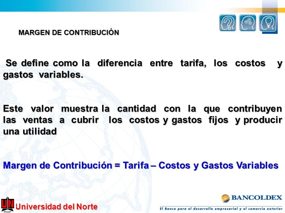 Margen de Contribución = Tarifa – Costos y Gastos Variables