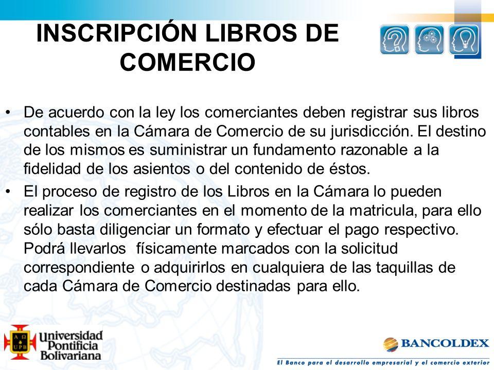 INSCRIPCIÓN LIBROS DE COMERCIO
