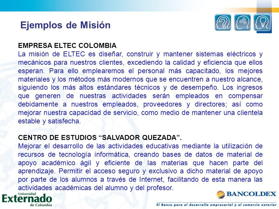 Ejemplos de Misión EMPRESA ELTEC COLOMBIA
