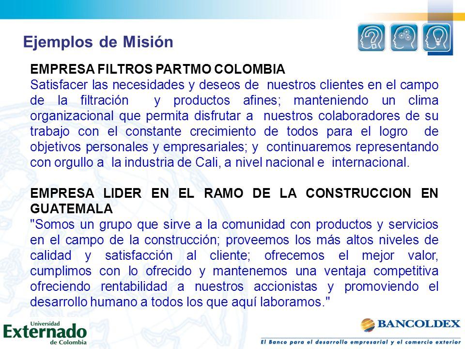 Ejemplos de Misión EMPRESA FILTROS PARTMO COLOMBIA