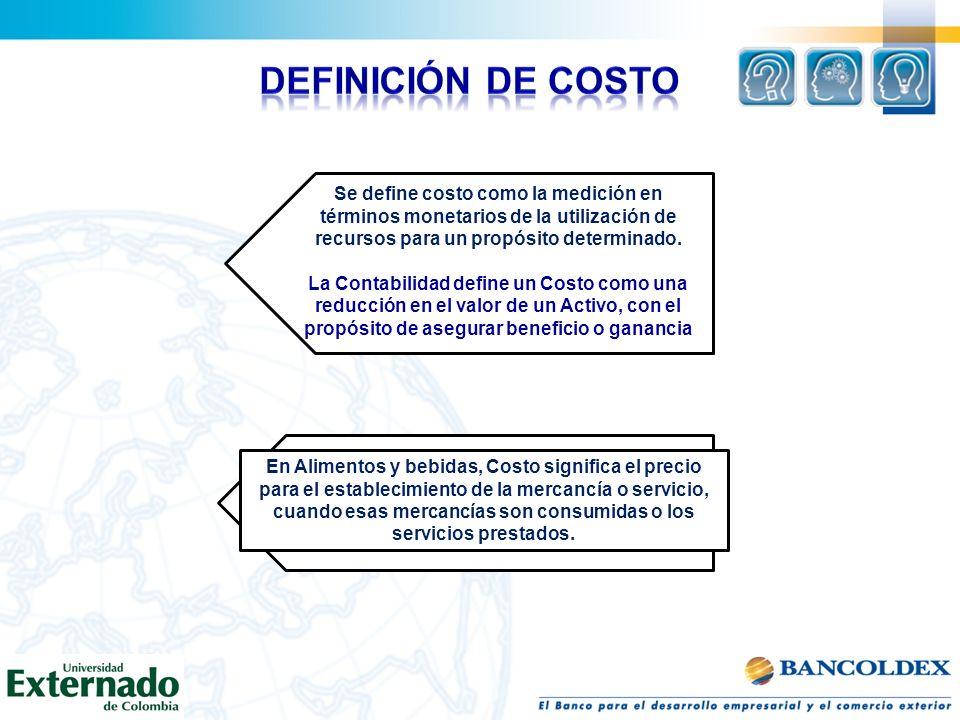 Definición de Costo Se define costo como la medición en términos monetarios de la utilización de recursos para un propósito determinado.