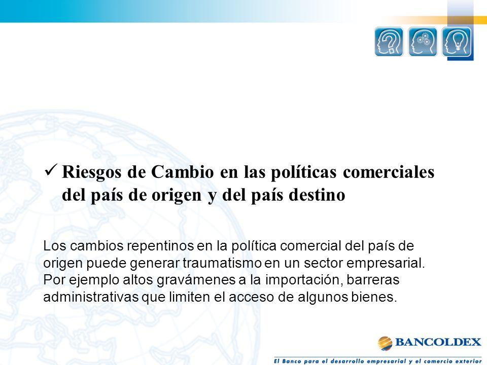 Riesgos de Cambio en las políticas comerciales del país de origen y del país destino