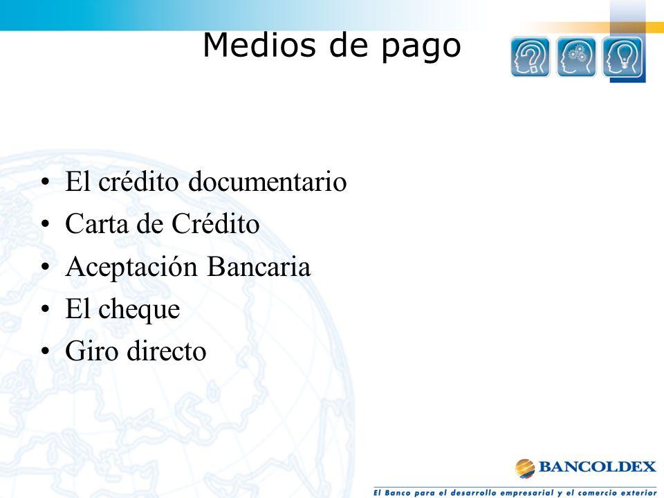 Medios de pago El crédito documentario Carta de Crédito