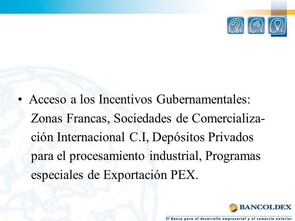 Acceso a los Incentivos Gubernamentales: