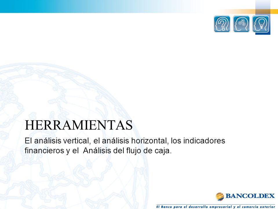 HERRAMIENTAS El análisis vertical, el análisis horizontal, los indicadores financieros y el Análisis del flujo de caja.