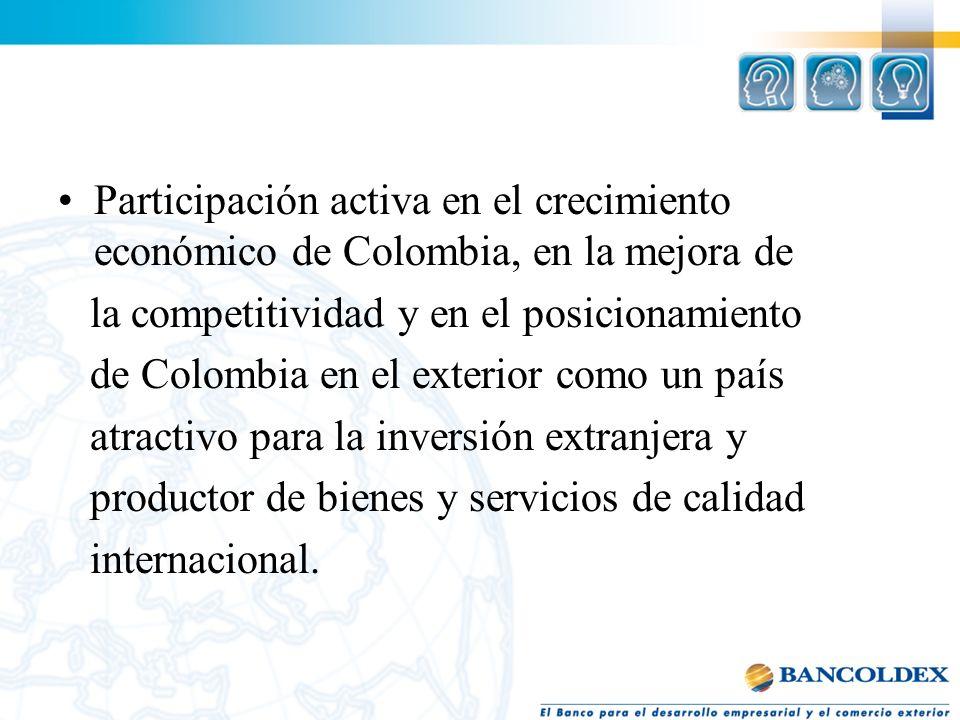 Participación activa en el crecimiento económico de Colombia, en la mejora de