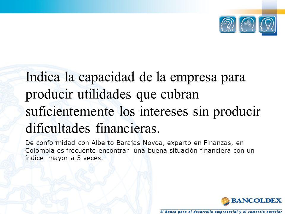 Indica la capacidad de la empresa para producir utilidades que cubran suficientemente los intereses sin producir dificultades financieras.