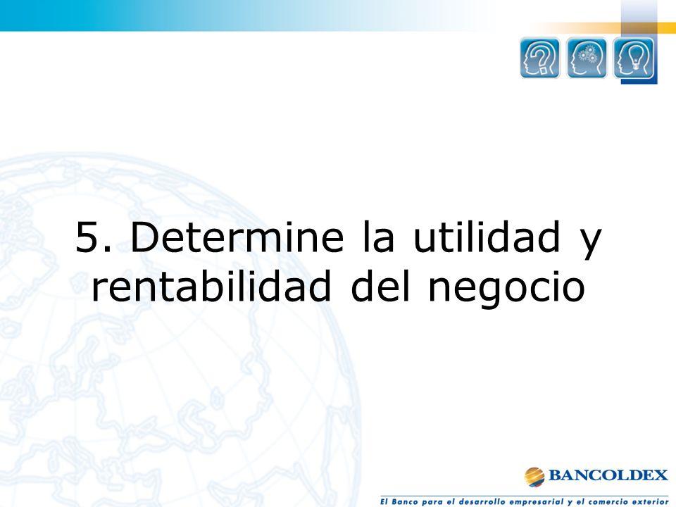 1. 5. Determine la utilidad y rentabilidad del negocio