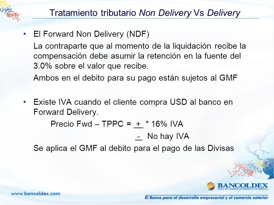 Tratamiento tributario Non Delivery Vs Delivery