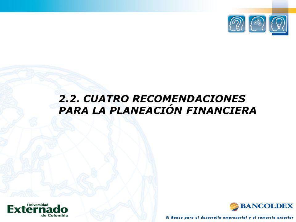 2.2. CUATRO RECOMENDACIONES PARA LA PLANEACIÓN FINANCIERA