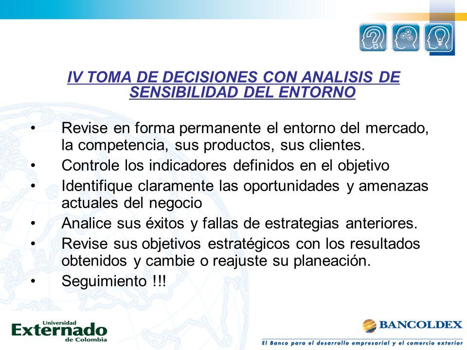 IV TOMA DE DECISIONES CON ANALISIS DE SENSIBILIDAD DEL ENTORNO