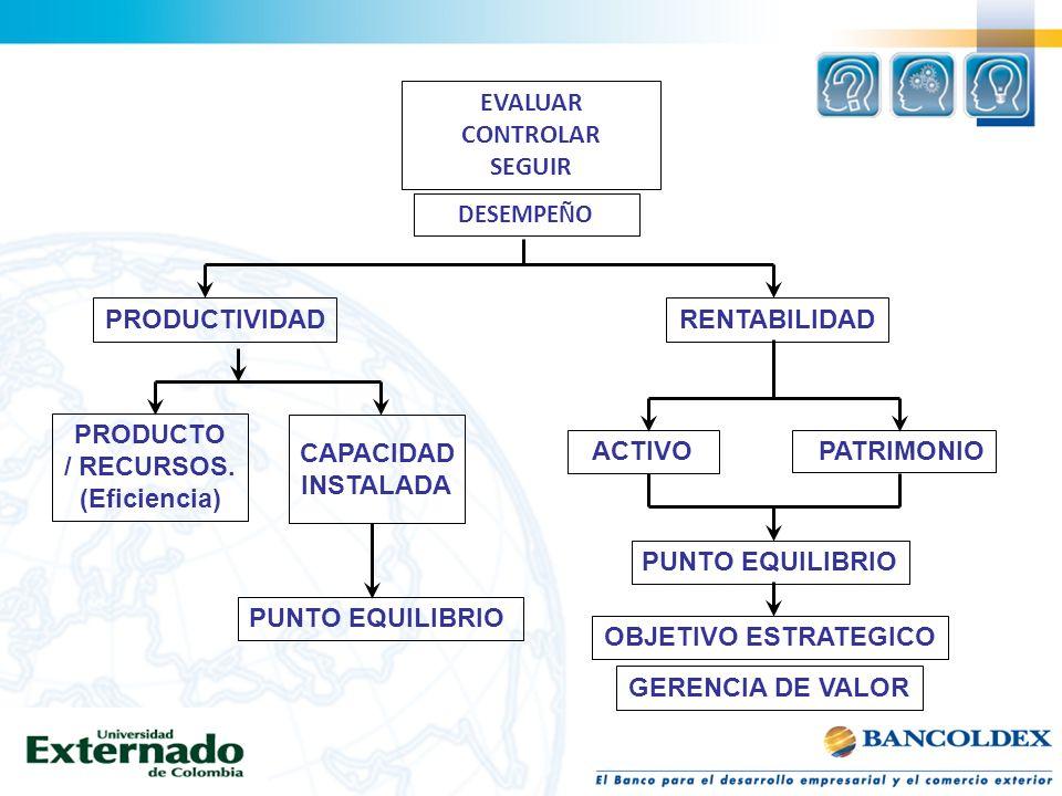 EVALUAR CONTROLAR SEGUIR PRODUCTIVIDAD RENTABILIDAD PRODUCTO