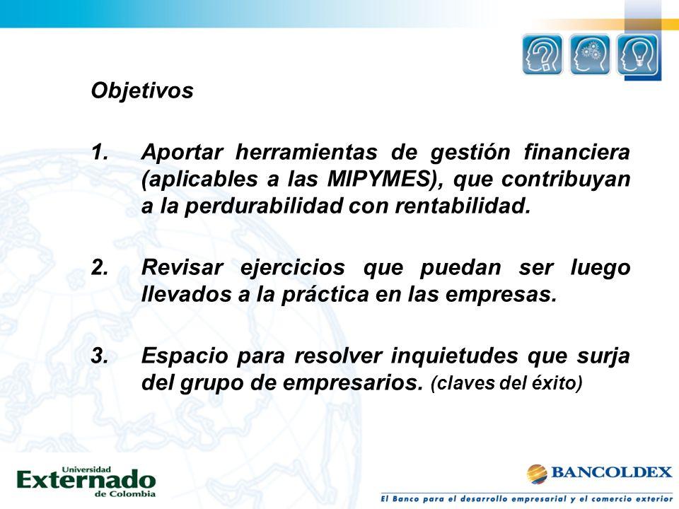 Objetivos 1. Aportar herramientas de gestión financiera (aplicables a las MIPYMES), que contribuyan a la perdurabilidad con rentabilidad.