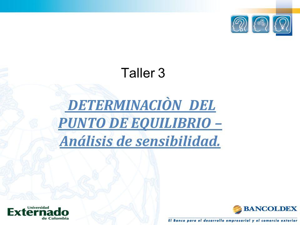 DETERMINACIÒN DEL PUNTO DE EQUILIBRIO – Análisis de sensibilidad.