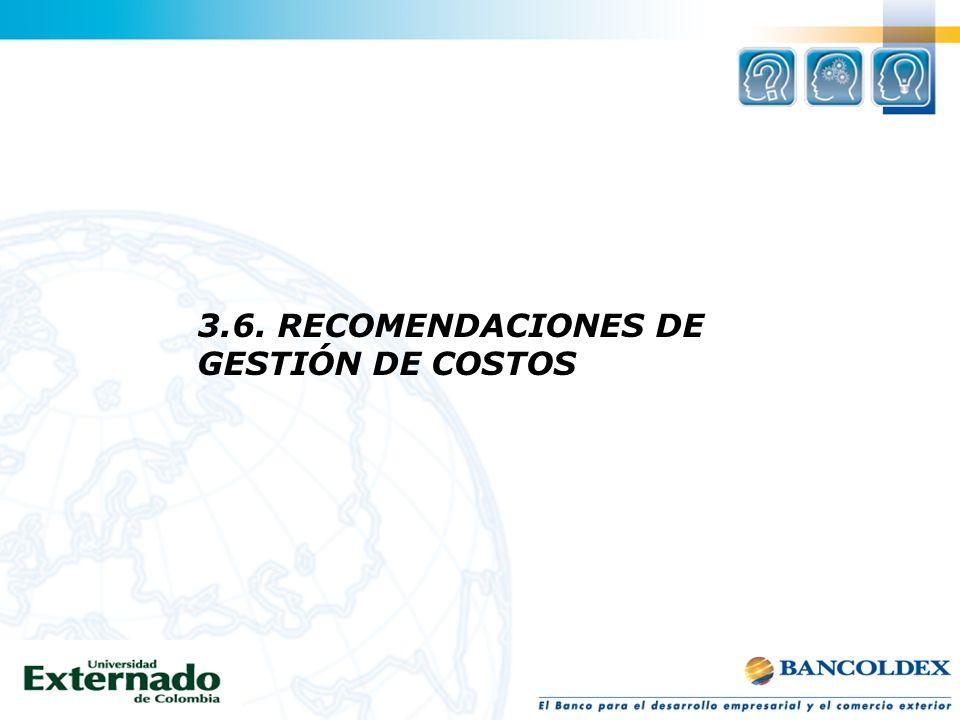 3.6. RECOMENDACIONES DE GESTIÓN DE COSTOS
