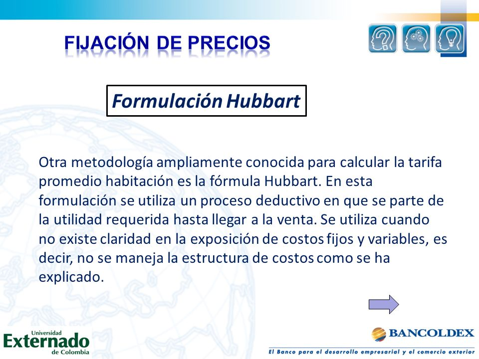 Formulación Hubbart FIJACIÓN DE PRECIOS