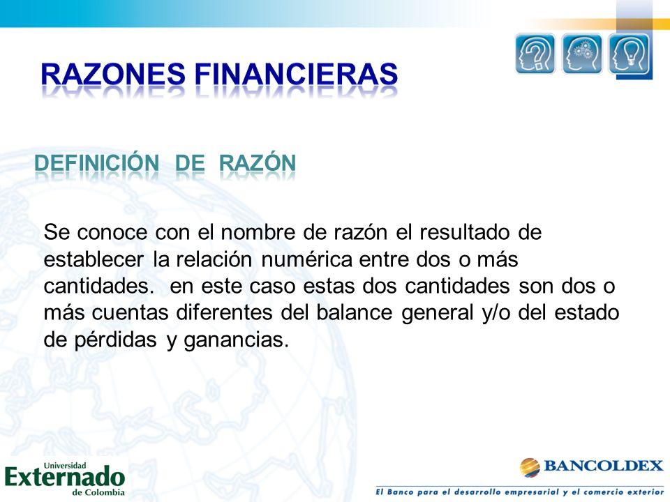 RAZONES FINANCIERAS Definición de Razón