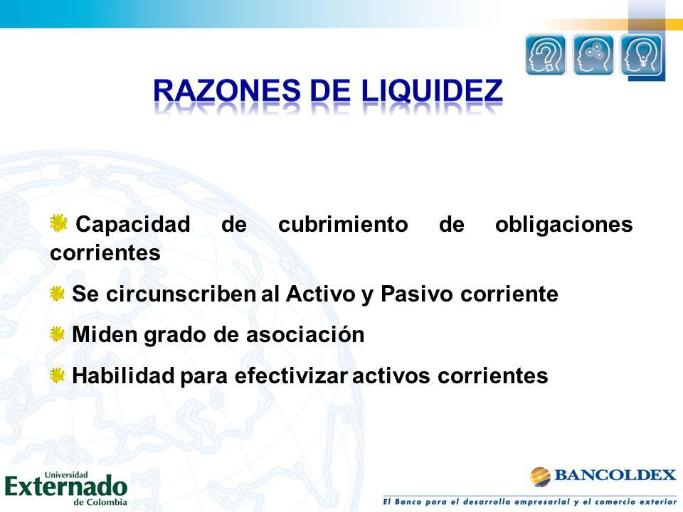 RAZONES DE LIQUIDEZ Capacidad de cubrimiento de obligaciones corrientes. Se circunscriben al Activo y Pasivo corriente.