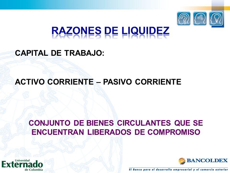 RAZONES DE LIQUIDEZ CAPITAL DE TRABAJO: