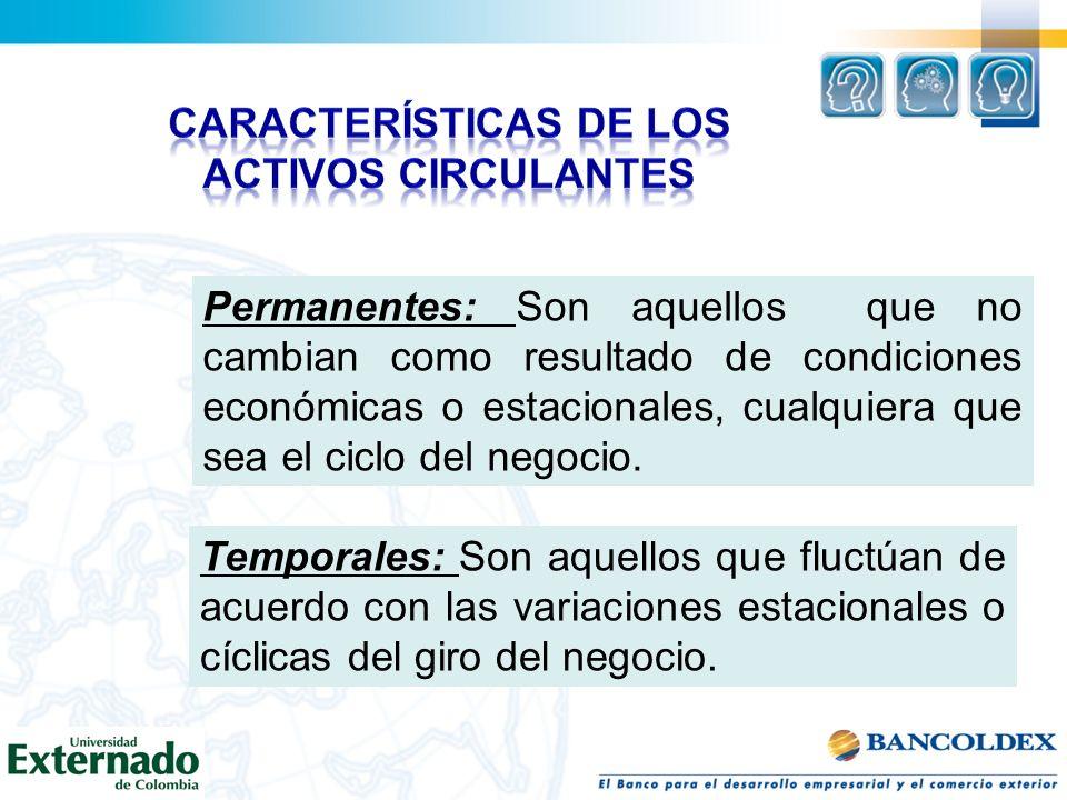 Características de los activos circulantes