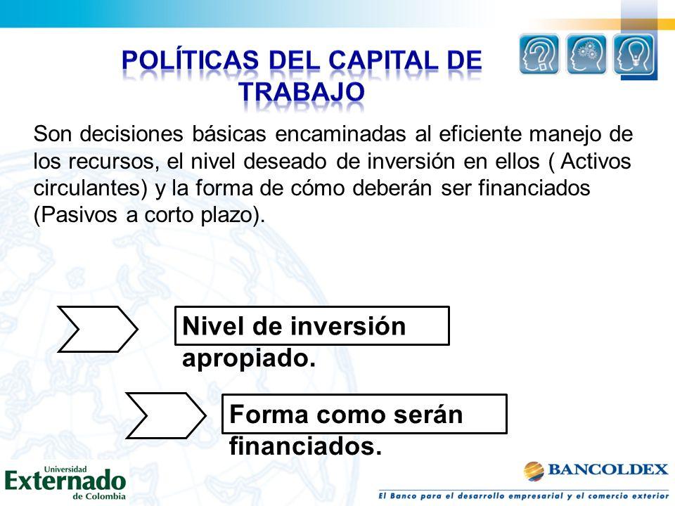 políticas del capital de trabajo