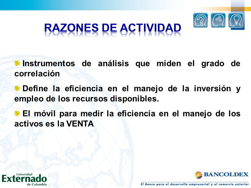 RAZONES DE ACTIVIDAD Instrumentos de análisis que miden el grado de correlación.