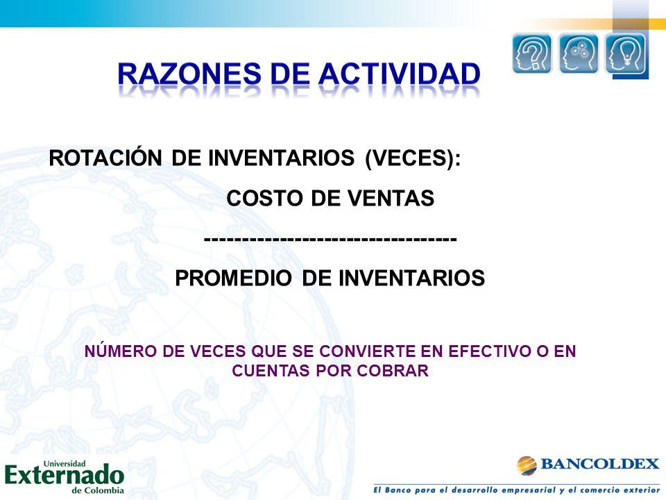RAZONES DE ACTIVIDAD ROTACIÓN DE INVENTARIOS (VECES): COSTO DE VENTAS
