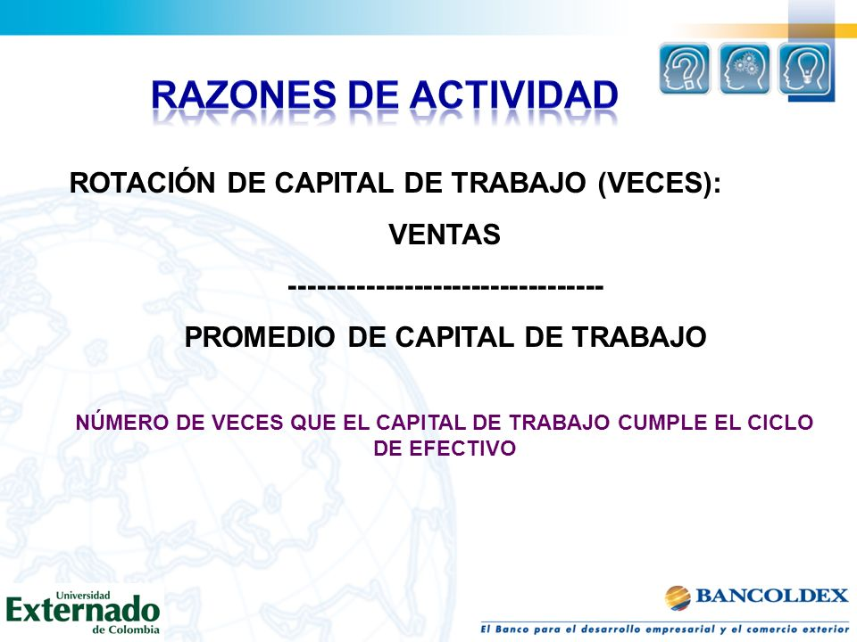 RAZONES DE ACTIVIDAD ROTACIÓN DE CAPITAL DE TRABAJO (VECES): VENTAS
