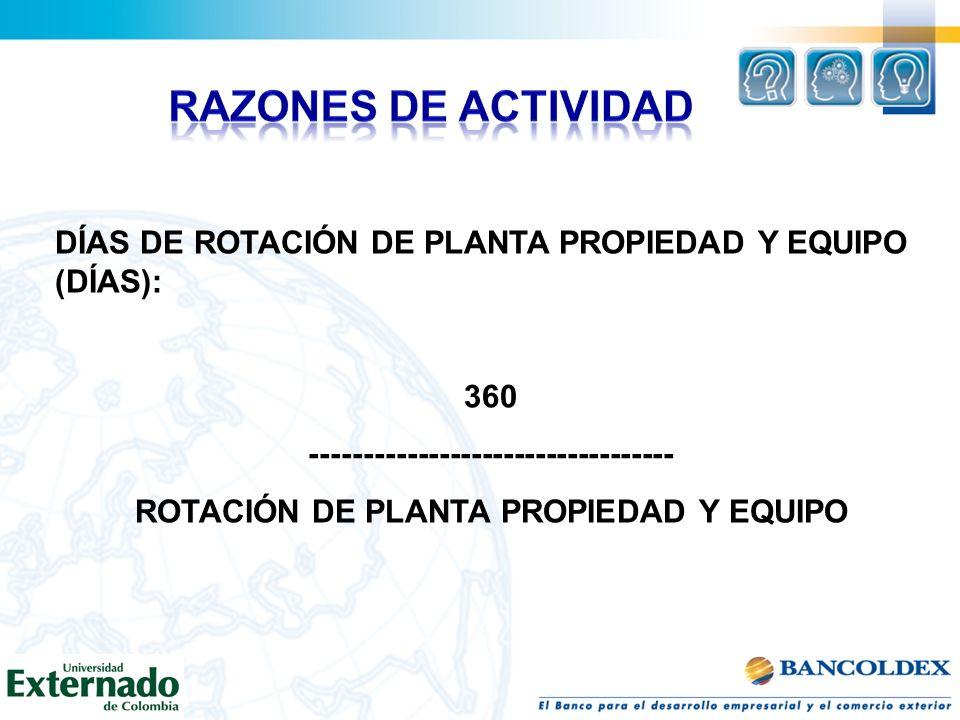 RAZONES DE ACTIVIDAD DÍAS DE ROTACIÓN DE PLANTA PROPIEDAD Y EQUIPO (DÍAS): 360. ----------------------------------