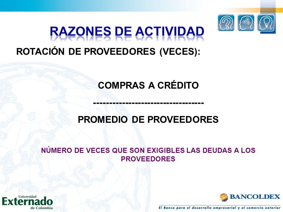 RAZONES DE ACTIVIDAD ROTACIÓN DE PROVEEDORES (VECES):