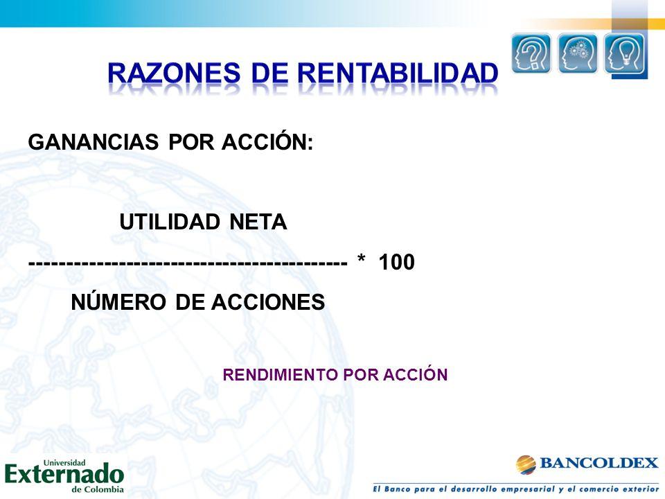RAZONES DE RENTABILIDAD RENDIMIENTO POR ACCIÓN