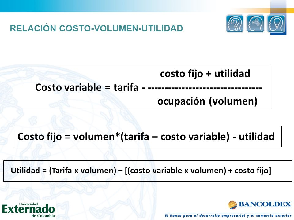 Costo variable = tarifa - ---------------------------------