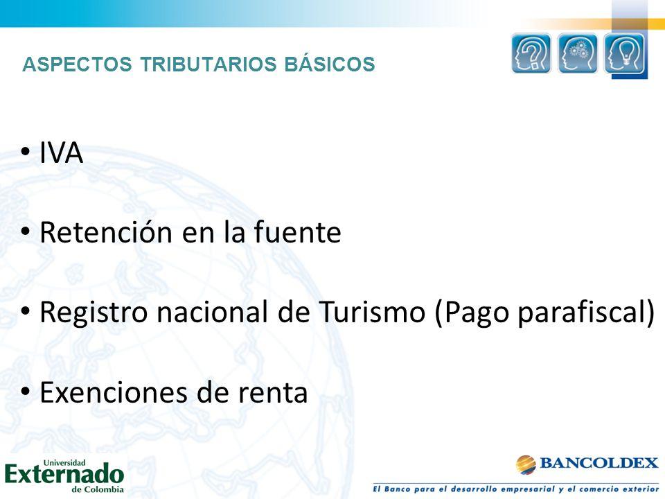 Registro nacional de Turismo (Pago parafiscal) Exenciones de renta