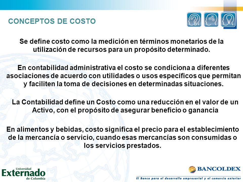 CONCEPTOS DE COSTO Se define costo como la medición en términos monetarios de la utilización de recursos para un propósito determinado.