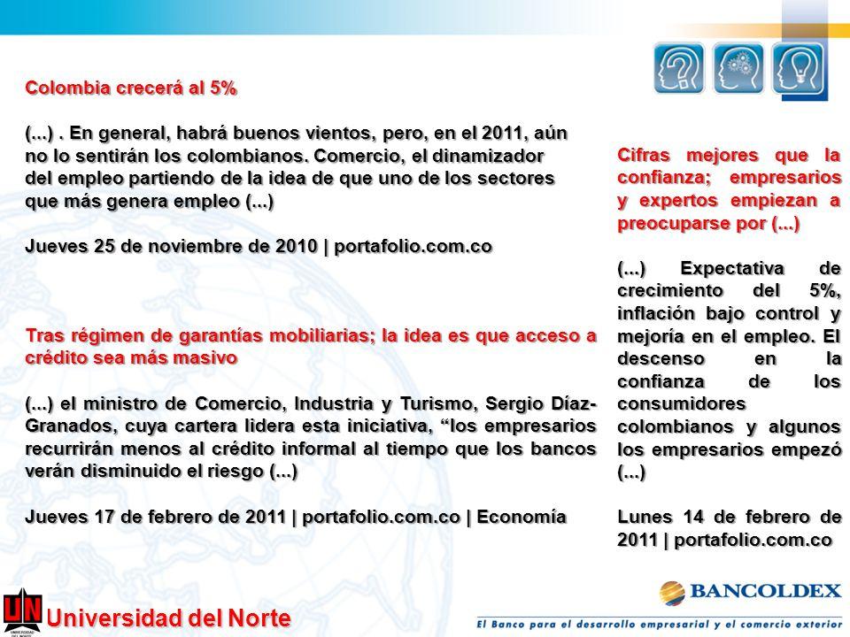 Colombia crecerá al 5%