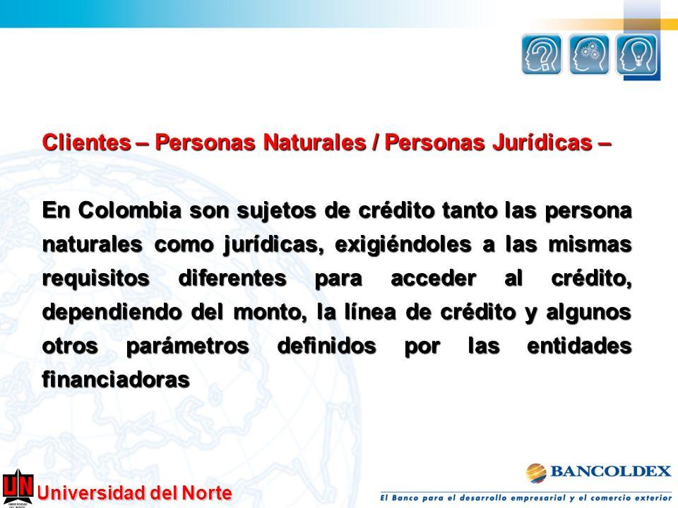 Clientes – Personas Naturales / Personas Jurídicas –