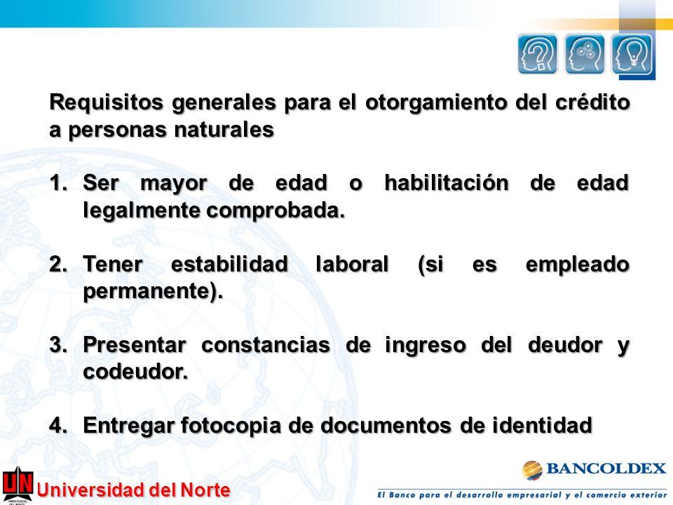 Requisitos generales para el otorgamiento del crédito a personas naturales