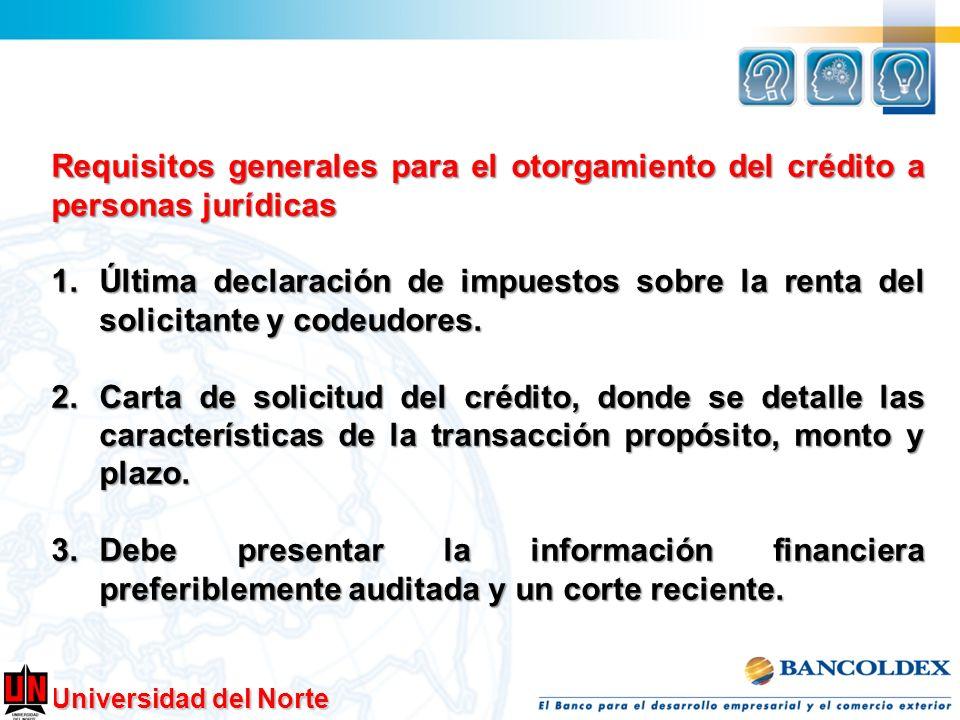 Requisitos generales para el otorgamiento del crédito a personas jurídicas