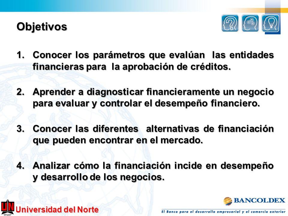 Objetivos Conocer los parámetros que evalúan las entidades financieras para la aprobación de créditos.
