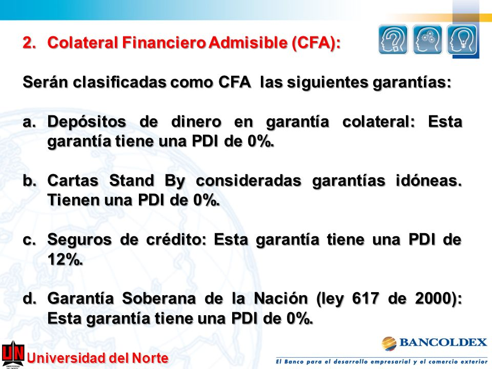Colateral Financiero Admisible (CFA):