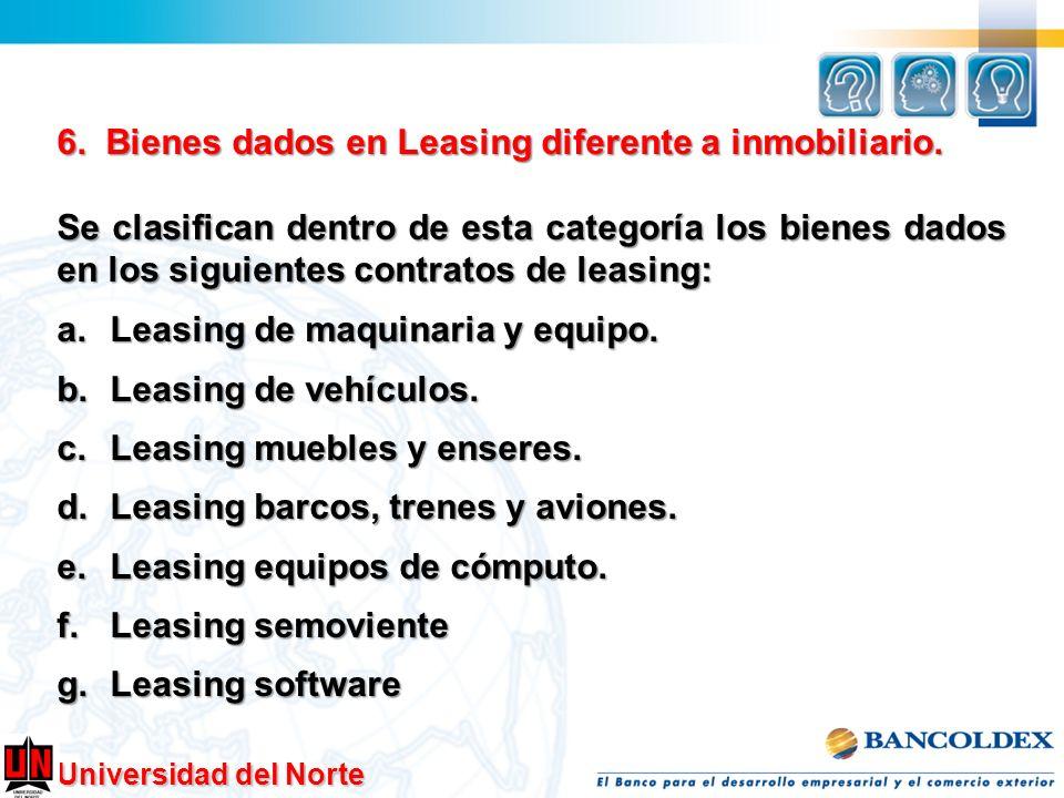 6. Bienes dados en Leasing diferente a inmobiliario.