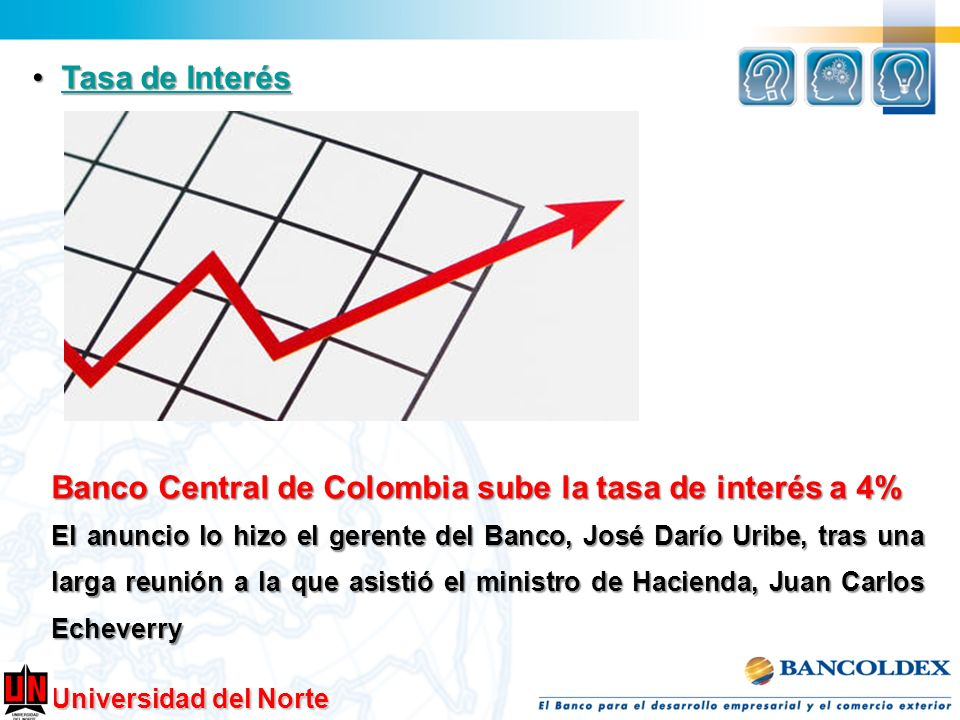 Banco Central de Colombia sube la tasa de interés a 4%