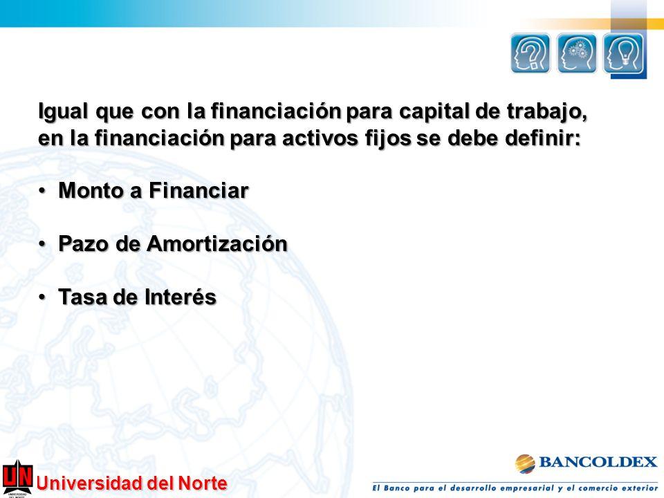 Igual que con la financiación para capital de trabajo, en la financiación para activos fijos se debe definir: